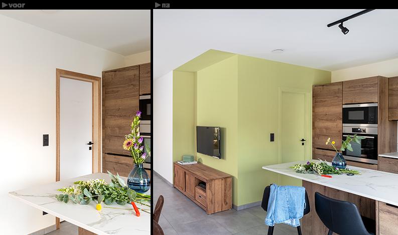 nieuwbouwwoning voor en na kleuradvies van colora