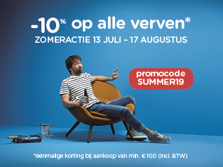 Kortingsactie op alle verven geldig van 13/7 - 17/8 éénmalig bij aankoop van min. € 100