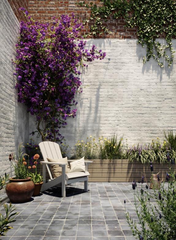 tuinmuur schilderen wit kaleien
