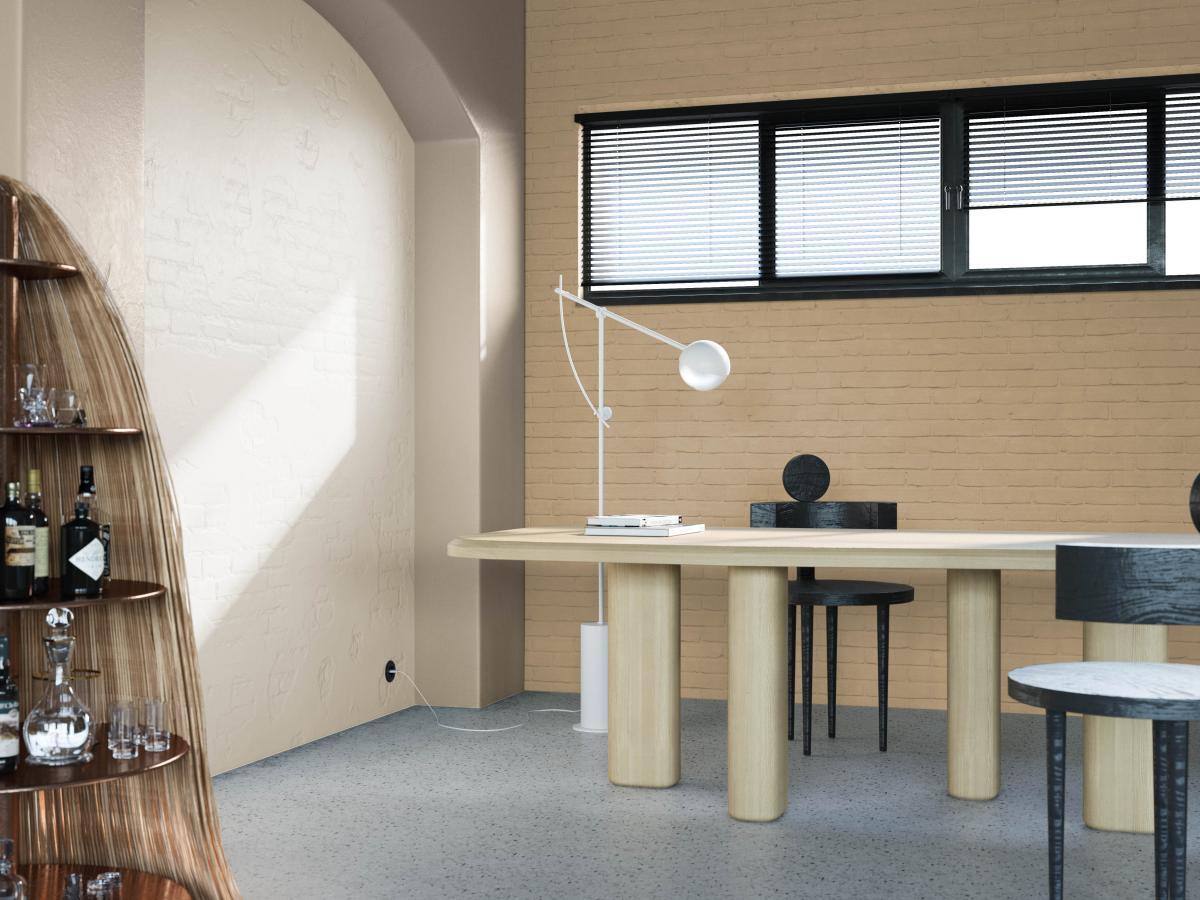 Kleurenspel tussen beige, grijs en wit accentueren de architectuur