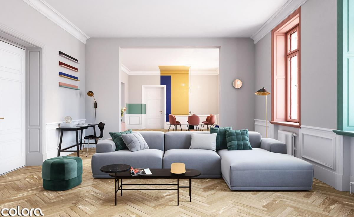 Kleur de woonkamer met verschillende accenten