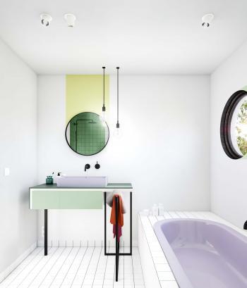 Gebruik creatieve kleuraccenten in de badkamer