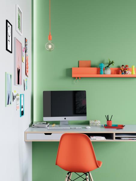 Creëer een inspirerende werkplek met soft-clash kleuren